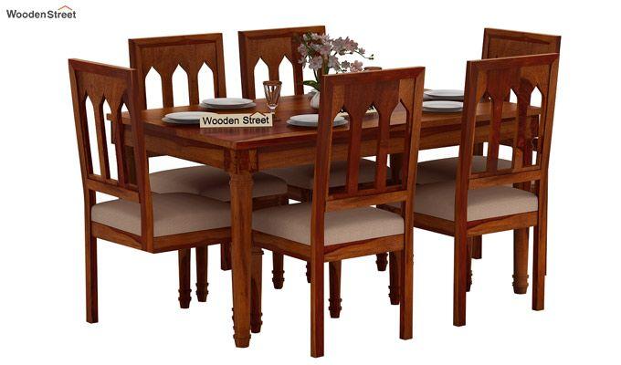Archivist 6 Seater Dining Set (Honey Finish)-2