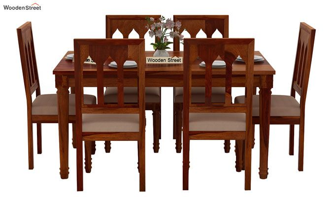 Archivist 6 Seater Dining Set (Honey Finish)-3
