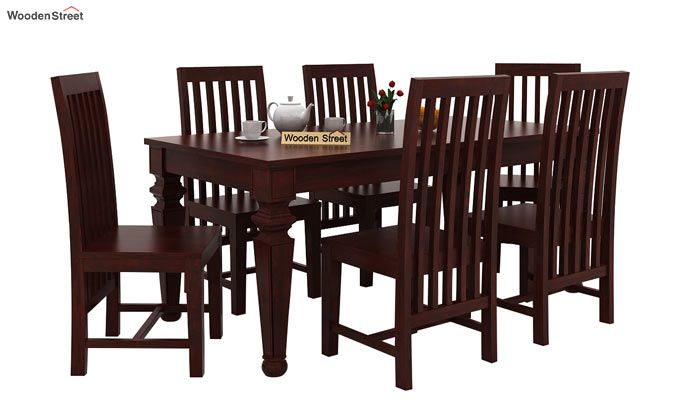 Ariana 6 Seater Dining Set (Mahogany Finish)-1