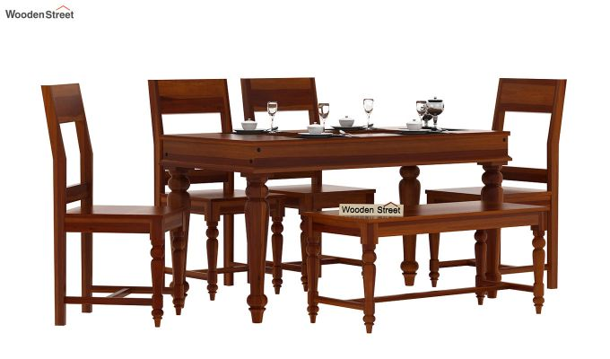 Boho 6 Seater Dining Set With Bench (Honey Finish)-2