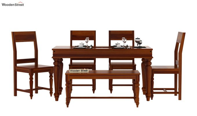 Boho 6 Seater Dining Set With Bench (Honey Finish)-3