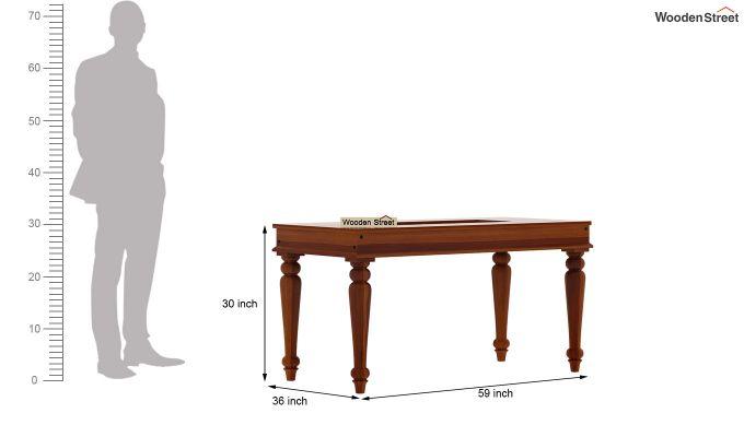 Boho 6 Seater Dining Set With Bench (Honey Finish)-12