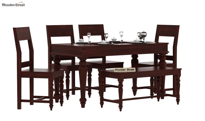 Boho 6 Seater Dining Set With Bench (Mahogany Finish)-1