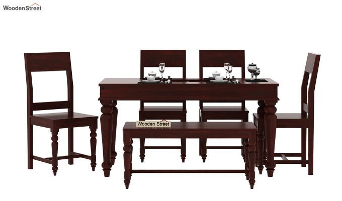 Boho 6 Seater Dining Set With Bench (Mahogany Finish)-2