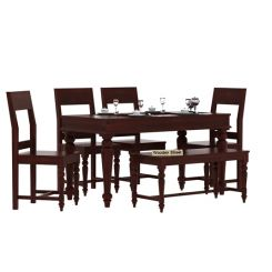 Boho 6 Seater Dining Set With Bench (Mahogany Finish)