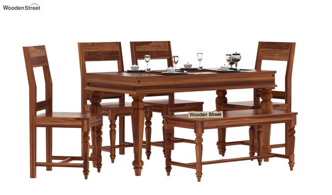 Boho 6 Seater Dining Set With Bench (Teak Finish)-1