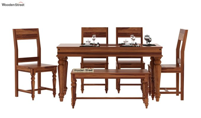 Boho 6 Seater Dining Set With Bench (Teak Finish)-2