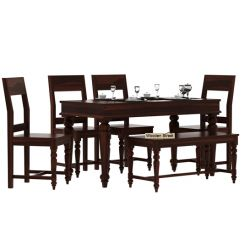 Boho 6 Seater Dining Set With Bench (Walnut Finish)
