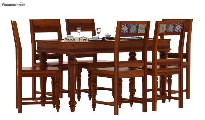 Boho 6 Seater Dining Set (Honey Finish)-2