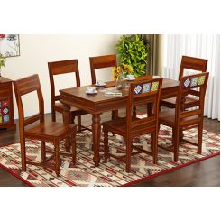 Boho 6 Seater Dining Set (Honey Finish)