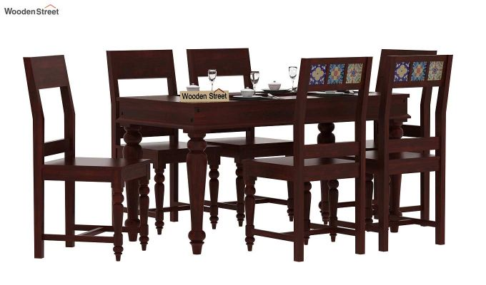 Boho 6 Seater Dining Set (Mahogany Finish)-1