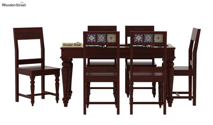 Boho 6 Seater Dining Set (Mahogany Finish)-2