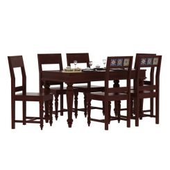 Boho 6 Seater Dining Set (Mahogany Finish)
