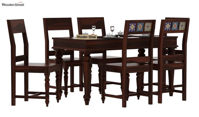 Boho 6 Seater Dining Set (Walnut Finish)-1