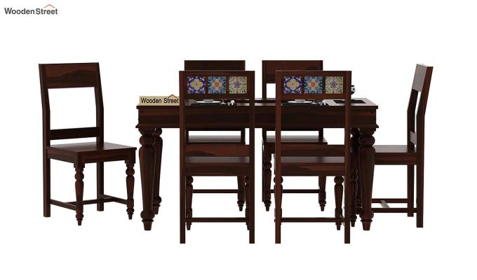 Boho 6 Seater Dining Set (Walnut Finish)-2