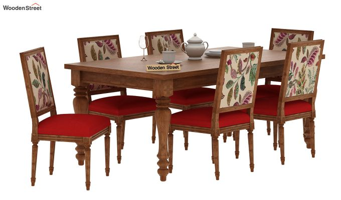 Bonita 6 Seater Printed Dining Set (Rosy Leaf, Natural Finish)-2
