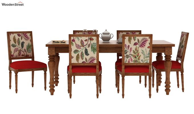 Bonita 6 Seater Printed Dining Set (Rosy Leaf, Natural Finish)-3
