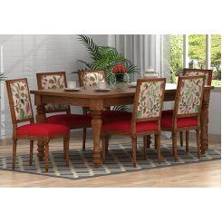 Bonita 6 Seater Printed Dining Set (Rosy Leaf, Natural Finish)