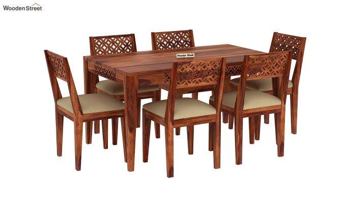 Cambrey 6 Seater Cushioned Dining Set (Honey Finish)-2