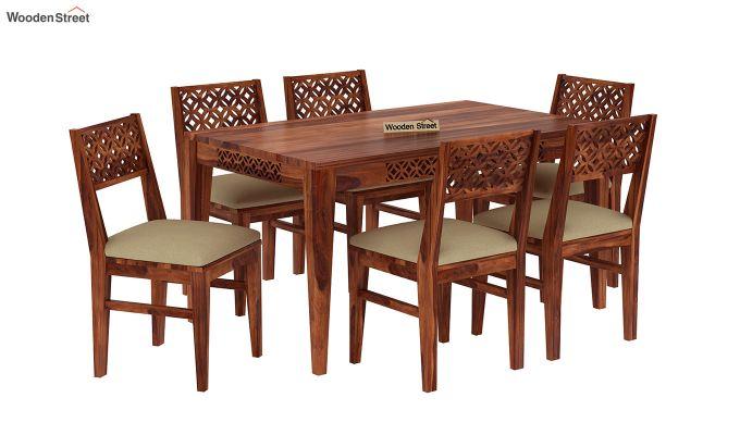 Cambrey 6 Seater Cushioned Dining Set (Honey Finish)-2