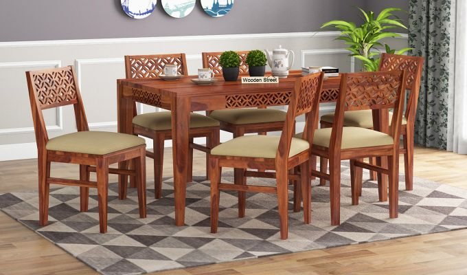 Cambrey 6 Seater Cushioned Dining Set (Honey Finish)-1