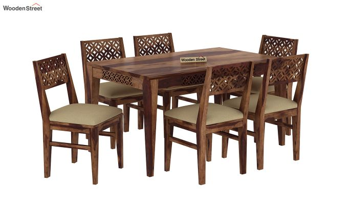 Cambrey 6 Seater Cushioned Dining Set (Teak Finish)-2