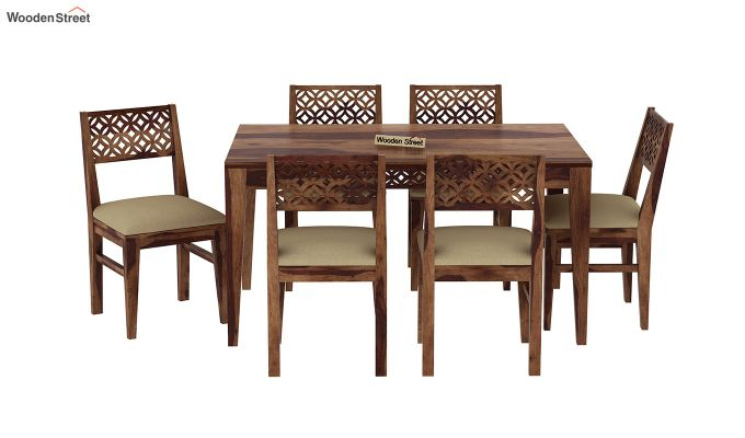 Cambrey 6 Seater Cushioned Dining Set (Teak Finish)-3