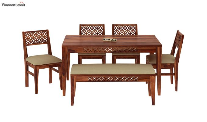 Cambrey 6 Seater Cushioned Dining Set With Bench (Honey Finish)-3
