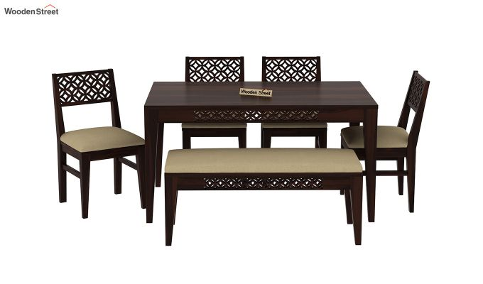 Cambrey 6 Seater Cushioned Dining Set With Bench (Walnut Finish)-3
