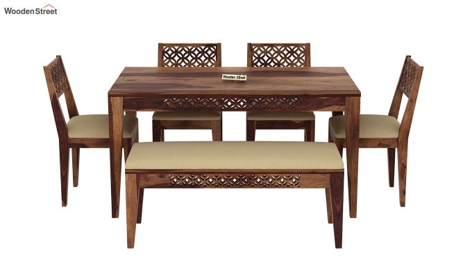 Cambrey 6 Seater Cushioned Dining Set With Bench (Teak Finish)-3