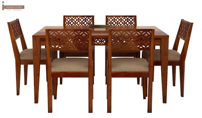 Cambrey 6 Seater Cushioned Dining Set (Honey Finish)-3