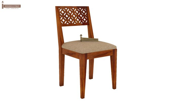Cambrey 4 Seater Cushioned Dining Set (Honey Finish)-6