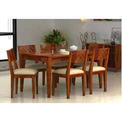 Cambrey 6 Seater Cushioned Dining Set (Honey Finish)