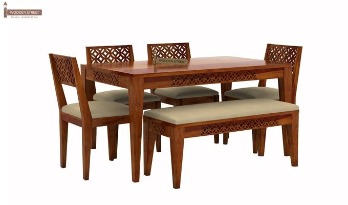 Cambrey 6 Seater Cushioned Dining Set With Bench (Honey Finish)-2