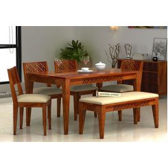 Cambrey 6 Seater Cushioned Dining Set With Bench (Honey Finish)