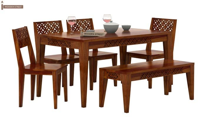 Cambrey 6 Seater Dining Set With Bench (Honey Finish)-2