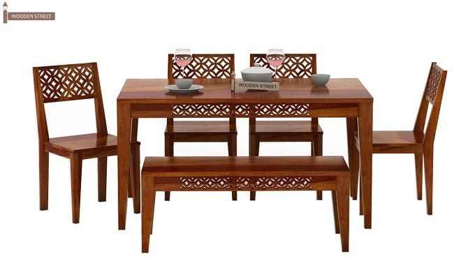 Cambrey 6 Seater Dining Set With Bench (Honey Finish)-3