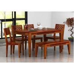 Cambrey 6 Seater Dining Set With Bench (Honey Finish)