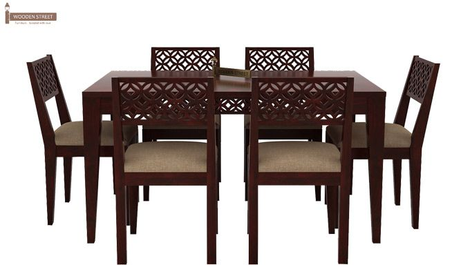 Cambrey 6 Seater Cushioned Dining Set (Mahogany Finish)-2