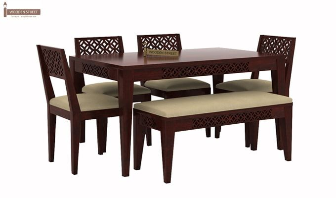 Cambrey 6 Seater Cushioned Dining Set With Bench (Mahogany Finish)-1