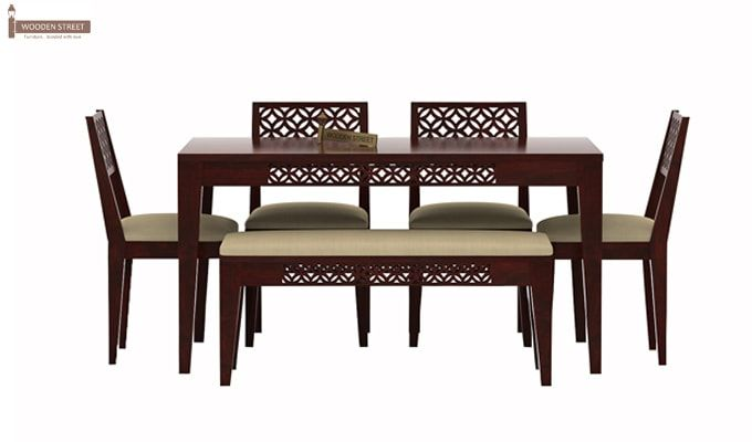 Cambrey 6 Seater Cushioned Dining Set With Bench (Mahogany Finish)-2