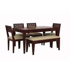 Cambrey 6 Seater Cushioned Dining Set With Bench (Mahogany Finish)