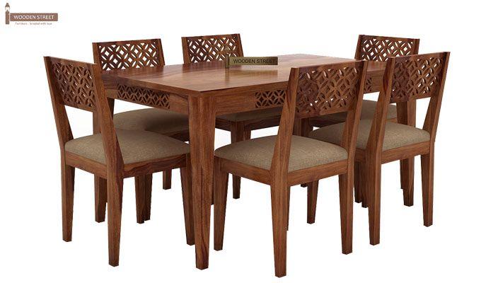 Cambrey 6 Seater Cushioned Dining Set (Teak Finish)-1