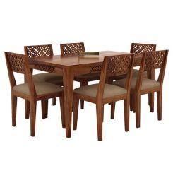 Cambrey 6 Seater Cushioned Dining Set (Mahogany Finish)