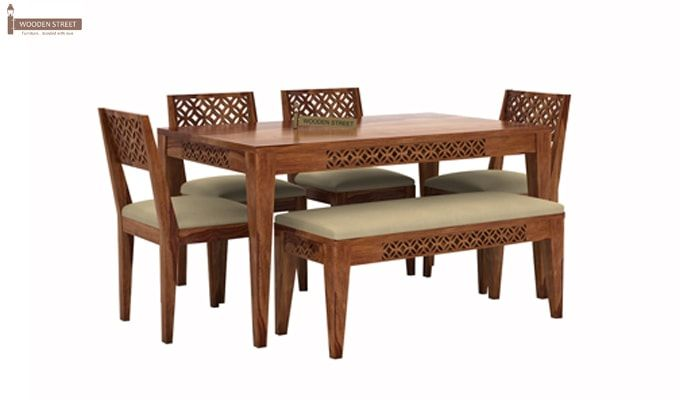Cambrey 6 Seater Cushioned Dining Set With Bench (Teak Finish)-1