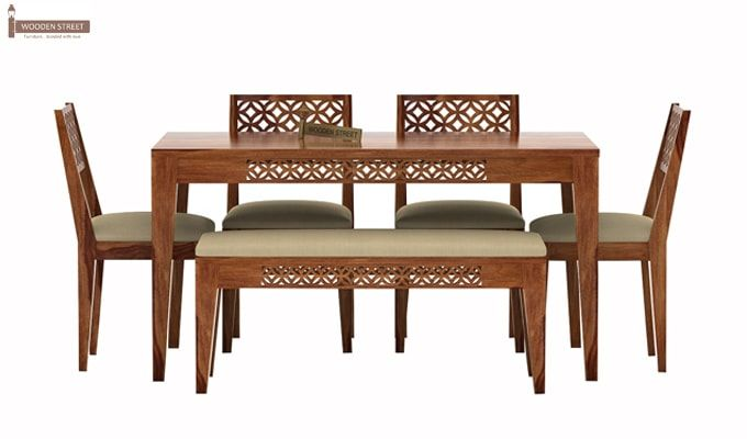 Cambrey 6 Seater Cushioned Dining Set With Bench (Teak Finish)-2