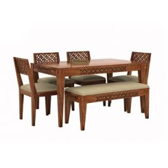 Cambrey 6 Seater Cushioned Dining Set With Bench (Teak Finish)