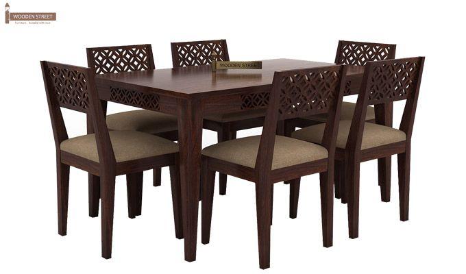 Cambrey 6 Seater Cushioned Dining Set (Walnut Finish)-1