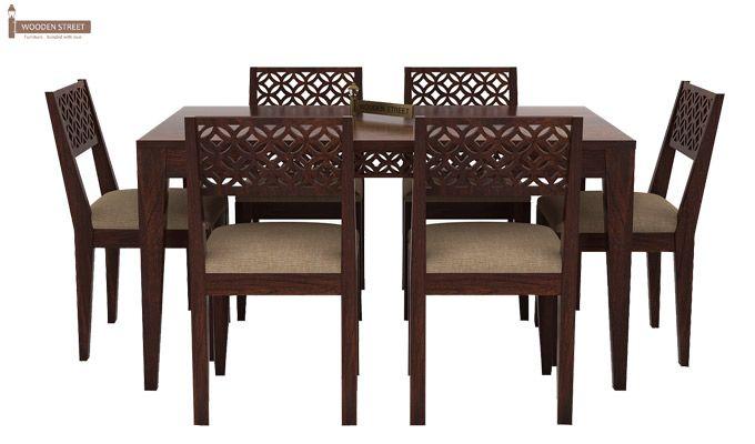 Cambrey 6 Seater Cushioned Dining Set (Walnut Finish)-2
