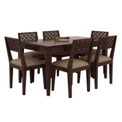 Cambrey 6 Seater Cushioned Dining Set (Walnut Finish)